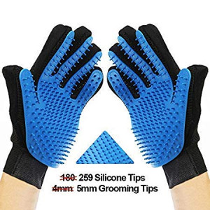 Pet Grooming Gloves  Heavy Duty Left and Right Enhanced Five Finger Design  Gentle De-Shedding Brush  Efficient Pet Hair Remover Glove - Combing and Massage- Perfect for Dogs and Cats and Other Pets.