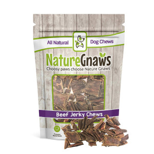 Nature Gnaws Beef Jerky Trail Mix (12 oz) - 100% Natural Grass Fed Beef Dog Chews - Small Dogs and Light Chewers
