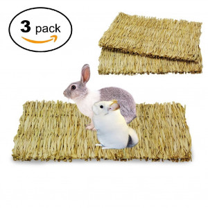Cedmon Rabbit Mat,Woven Seagrass Mats Rabbits,Safe and Edible Rabbit Mats Cages,Bunny Chew Toys Rabbits
