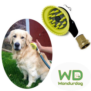 Quality Outdoor Dog Shower | All Metal Adapter | Attaches to Standard Garden Hose | Nozzle Brush Attachment with Rubber Shield | Outdoor Dog Wash | Outdoor Dog Bath