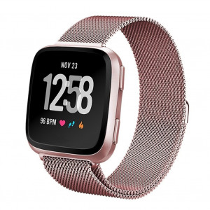 Qiandy for Fibit Versa Bands, Fitbit Band, Smart Watch Band for Men and Women, Milanese Loop Stainless Steel Metal Replacement Bracelet Strap with Unique Magnet Lock Accessories
