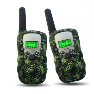 Joyfun Walkie Talkies for Kids T-388 Long Distance 2 Way with Flashlight Outdoor Camping and Hiking Gear - 1 Pair