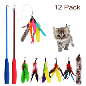 WEIHAO Cat Feather Toy, 12 pcs Retractable Cat Toys Interactive Cat Teaser Wand Toy Set, Inculdes 2 Wands and 10 Refills Feathers for Cats Kitten
