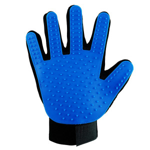 Happy Pet Grooming Glove - Gentle Deshedding Brush Glove - Efficient Pet Hair Remover Mitt - Massage Tool Perfect for Dogs and Cats with Long and Short hair (Blue, Right hand)