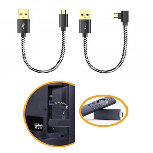 Oneme USB Power Cord for Streaming Stick Power up Your Streaming Stick Form Your TV's USB Port, USB Cable for Streaming Stick, Chromecast, Roku Stick, 2 Pack 8 Inch (1 Straight 1 Angle)