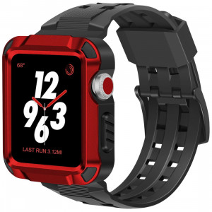 iiteeology Compatible Apple Watch Band 42mm, Men Metal Rugged Apple Watch Case with Sports Breathable iWatch Bands for Apple Watch 42mm Series 3 Series 2 Series 1-Red