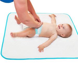 """Portable Changing Pad with Free Storage Bag  Waterproof Reusable Large Changing Pad 31.5""""x25.5'' - Baby Changing Mat with Reinforced Seams - Unisex"""