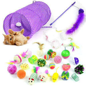 Whoobee Cat Toys Kitten Toys Assortments, Variety Pack for Catnip Toy, Cat Tunnel, Bell Crinkle Balls, Feather Wand, Cat Teaser Toy and Spring, Cat Toys Set for Cat, Puppy, Kitty, Kitten