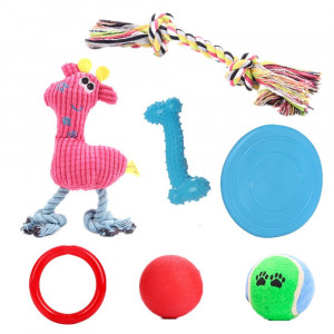 YOOPET Dog Chew Toys Set for Small to Medium Dogs and Puppy Toys  Rope Toy, Squeaky Toy, Rubber Ball, Bone, Flying Disc  Assorted Colors, 7PCS