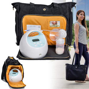 Zohzo Lauren Breast Pump Bag - Portable Tote Bag Great for Travel or Storage  Includes Padded Laptop Sleeve - Fits Most Major Pumps Including Medela and Spectra Breastpump (Black)