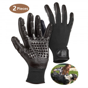 PatDow Pet Grooming Glove, Pet Deshedding Brush Gloves with Adjustable Wrist Strap Pet Hair Remover for Cat, Horse and DogPair of Flexible Brush Mitts petfect for Shedding, Bathing, Massaging