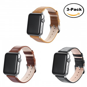 Prosrat 3PCS Bands for Apple Watch Bands 42mm and 38mm,Leather Watch Replacement Bands for iWatch Series 3, Series 2, Series 1