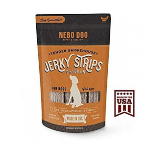Gourmet Jerky Dog Treats - MADE IN USA with American Chicken. Slow Smoked and Tender 6 Jerky Strips. No Artificial Fillers, Wheat, Corn or Soy | 16 oz. Bag