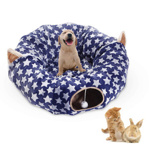 Cat Dog Tunnel Bed with Cushion Tube Toys Plush Large Diameter Longer Crinkle Collapsible 3 Way for Large Cats Kittens Kitty Small Puppy Outdoor 6FT