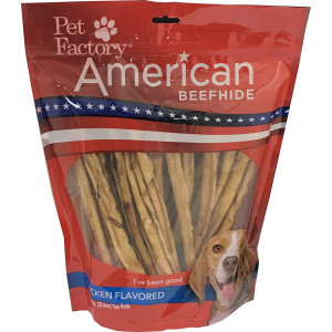 "Pet Factory American Beefhide Chews 28225 Rawhide Chicken Flavor 10"" Thin Rolls for Dogs. American Beefhide is a Great Source for Protein and Assists in Dental Health. 35 Pack, Resealable Package"
