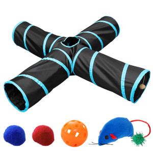 UEETEK Pet Cat Tunnel, Collapsible 4 Way Cat Play Tunnel Toy with 4 Extra Cat Toys Tube Fun for Puppy, Kitty, Kitten, Rabbit