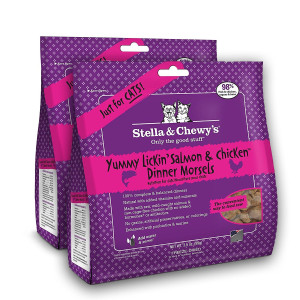 Stella and Chewy Freeze-Dried Raw Yummy Lickin Salmon and Chicken Dinner Morsels Grain-Free Cat Food (2 Packs), 3.5 oz