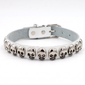 PU Leather Personalized Dog Collar with Silver Bling Skull Spiked Studded Charm, Pet Cat Dollars Necklaces for Training,Sports,Walking,Travel,Dog Show,Heavy Duty,Waterproof,Medium Dogs Adjustable 10.