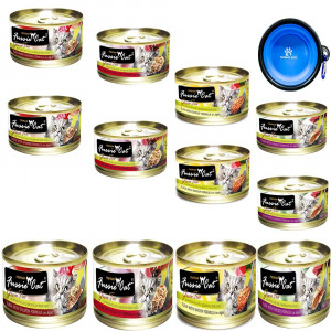 Fussie Cat Premium Canned Grain Free Cat Wet Food - Variety Bundle 4 Flavors Pack With HS Pet Food Bowl (12 Cans) (Tuna and Ocean Fish- Tuna and Salmon - Tuna and Shrimp - Tuna and Chicken) (2.82 Oz)