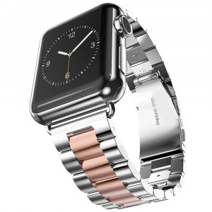 SHJD Band Compatible with Apple Watch, 38mm Stainless Steel iWatch Wristband Metal Buckle Clasp Strap Replacement Link Bracelet for Apple Watch Series 3/2/1 Sports Edition (Silver/Rose Gold, 38mm)