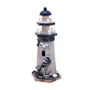 Waroom Home Wooden Lighthouse Decor, 10.25''H Nautical Themed Rooms Lighthouse Home Decor with Conch Star Fish and Small Fish (Lighthouse-A)
