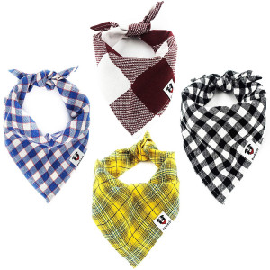 Dog Bandana - 4 Pack Durable Dog Scarf with Double-Stitched Edges and 4 Unique Colors - Dog Bandanas Ideal for Most Sized Dogs and Made with 100% Cotton so Each One is Breathable and Comfortable