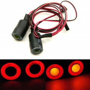 MOHERO 2 Leds Angel Eyes and Demon Eyes LED Light Headlights for 1/10 RC Model Crawler Cars Headlamps (Red+Yellow, 17mm)