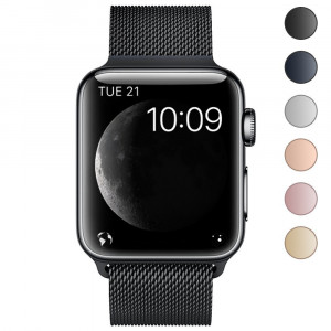 AWOOWELL Milanese Loop for Apple Watch 38mm 42mm,Stainless Steel Mesh Band with Adjustable Magnetic Closure Replacement Metal Bands for IWatch Nike+ Edition Sport Series 3 2 1 Black