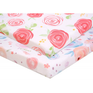 Pack n Play Fitted Pack n Play Playard Sheet Set-2 Pack Portable Mini Crib Sheets,Playard Mattress Cover,Super Soft Material, Flowers