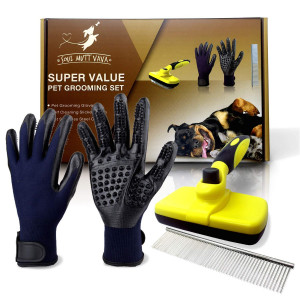 Pet Dog Grooming Set Kit,Self Cleaning Slicker Brush,Pet Comb and 1 Pair Pet grooming Gloves-Right and Left Hands,Anti Shedding Pet Hair Remover for Dogs and Cats,Deshedding Brush,Fur,Long and Short Hair