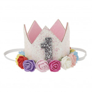 Stock Show 1st Pet Birthday Crown Hat Mini Dogs Cats Cute Holiday Party Hat Costume with Flowers Accessories and Adjustable Headband for Small Medium Dogs Cats Pets Baby