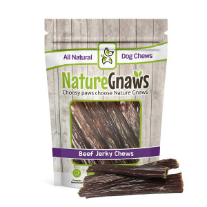 "Nature Gnaws Beef Paddywack Jerky Wrap 6-7"" (10 Pack) - 100% Natural Dog Chews for Large Dogs and Aggressive Chewers"