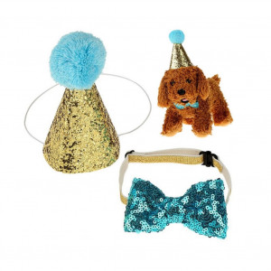 Stock Show Pet Cute Birthday Party Cone Hat and Blingbling Bow Tie Breakaway Collar Set with Adjustable Headband and Pom-poms Topper for Kitten Puppy Small Dogs Cats