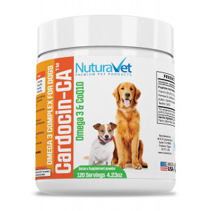 NuturaVet Cardocin-CA Omega 3 Complex For Dogs By Dietary Supplement With Fish Oil and CoQ10- Unique Blend Promotes Heart Health and Heals Skin Conditions