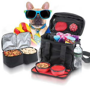 Ideas In Life Dog Travel Bag Airline Approved Purse for Accessories - Dog Tote Bag for Supplies and Dog Luggage Suitcase for Any Size Dogs with 2 Collapsible Doggie Bowls and Food Holders