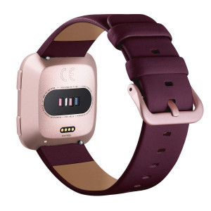 Surace Compatible for Fitbit Versa Bands,Versa Leather Band Replacement for Fitbit Versa Band for Women Smart Watch Versa Bands for Men, Wine Red