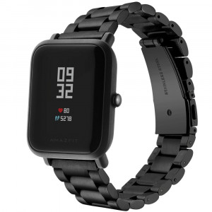 LeafBoat Compatible Amazfit Bip/Galaxy Watch 42mm Smart Watch 20mm Replacement Strap Adjustable Wristband Bracelet Stainless Steel Band (Black)