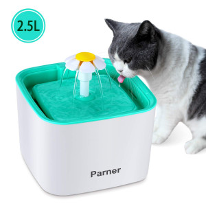 PARNER Pet Water Fountain, 2.5L Flower Pet Dispenser, Super Quiet Automatic Drinking Water Bowl for Cat and Dog