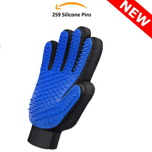 [New 2019] Pet Grooming Glove - Perfect for Dogs/Cats/Horses with Long and Short Fur  This Brush Glove Great for Bath Brush, Hair Remover and Gentle Deshedding.