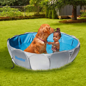Alvantor Pet Foldable Swimming Pool Cat Puppy Shower Spa Dog Bathing Tub Kiddie Pools Portable Indoor Outdoor Pond Ball Pit 42X12 Patent Pending