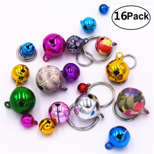 16pcs Pet Cat Collar Bells, Dog Collar Bells for Kitty, Rabbits, Chinchilla, Guinea Pigs and Other Small Animals(Multicolor)