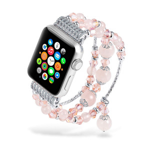 Handmade Beaded Apple Watch Bands Fashion Pink Crystal Rose Quartz Bracelet Strap iWatch Bands for Apple Watch Series 3/2/1 38mm Waterproof for Women