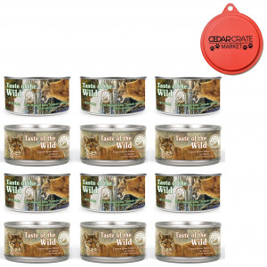 Taste of the Wild Cat Food Variety Pack with Can Topper - 3 Ounces - 2 Flavors - Rocky Mountain Feline with Salmon and Roasted Venison Formula and Canyon River Feline Trout and Salmon Formula (12 Pack)