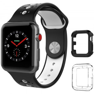 UooMoo Compatible with Apple Watch 1/2/3 Band with Case 42mm, Silicone Sport Strap Band with Shock-Proof Case Replacment for iWatch Series 1/2/3/4 (42mm,Black/White)