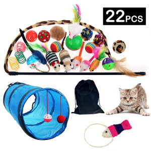 22Pcs Cat Toys Kitten Toys Assortments, 2 Way Cat Tunnel, Colorful Springs, Cat Teaser Wand, Fish, Interactive Feather Toy Fluffy Mouse Crinkle Balls for Cat Puppy Kitten Kitty
