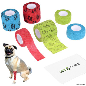 Eco-Fused Self Adhering Bandage - Injury Wrap Tape Pets (Dogs Cats Horses) - Pack of 6 - Supports Muscles Joints - Does not Stick to Hair  Elastic Water Repellent Breathable - Relieves Stress
