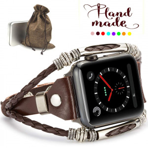 Marval.P Compatiable for Apple Watch 4 Bands(40mmand44mm), Handmade Leather DIY Band for Series 123 38mm/42mm, Replacement Bracelet Strap, Wristbands with Adjustable Size, Fashion Wrist Band Straps