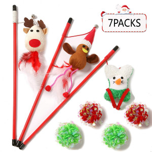 Christmas 3 Cat Wands Feather Teaser Toys with Ribbons,Bells,Elastic Rope,and 4 Mylar Crinkle Rope Balls,7 Packs Toy Set,Styling:Christmas Reindeer,Santa Claus,Christmas Tree,Gift for Kitten