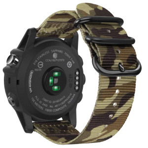 Fintie Band for Garmin Fenix 5X Plus/Fenix 3 HR Watch, 26mm Premium Woven Nylon Bands Adjustable Replacement Strap for Fenix 5X/5X Plus/3/3 HR Smartwatch - Camo Green