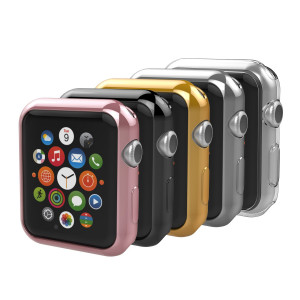 Anjoo [5-Pack] for Apple Watch 42mm Case, Apple Watch Slim TPU Protective Clear Cover Case for iWatch 42mm Apple Watch Series 2 and Series 3 - Rose Gold, Gold, Silver, Transparent, Black